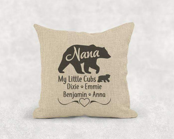 Grandma Bear (CUSTOM) Burlap Pillow LemonsAreBlue