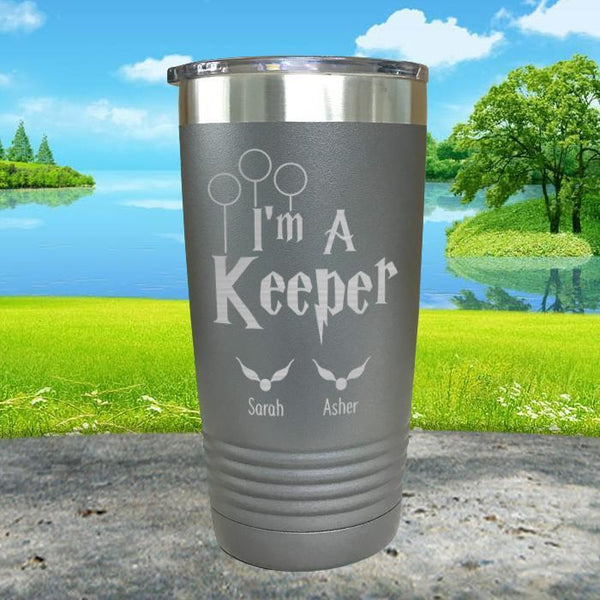 I'm A Keeper (CUSTOM) With Child's Name Engraved Tumblers Tumbler ZLAZER 20oz Tumbler Gray