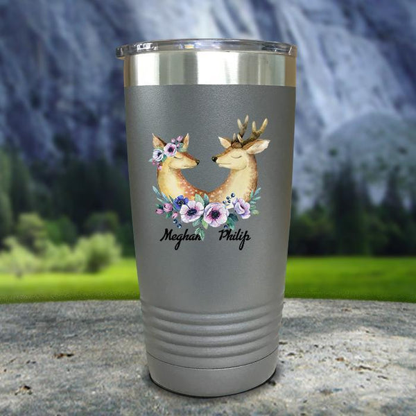 Buck and Doe Personalized Color Printed Tumblers Tumbler Nocturnal Coatings 20oz Tumbler Gray