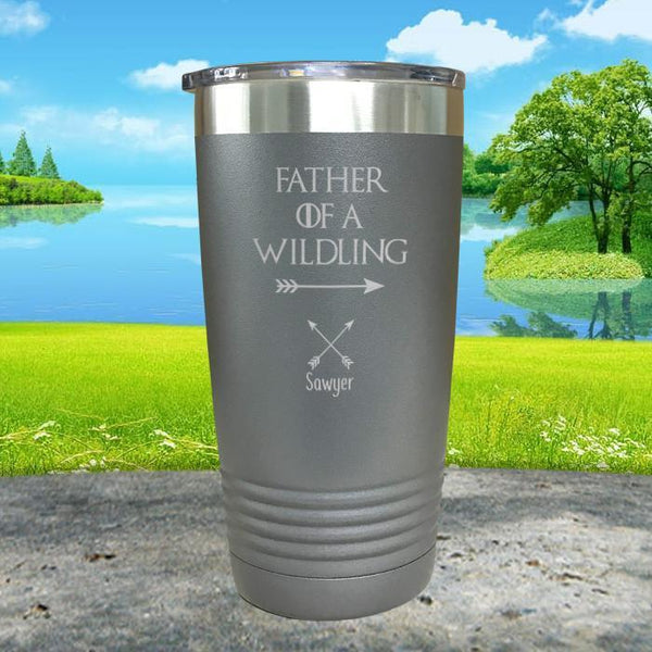 Father Of Wildlings (CUSTOM) With Child's Name Engraved Tumblers Tumbler ZLAZER 20oz Tumbler Gray