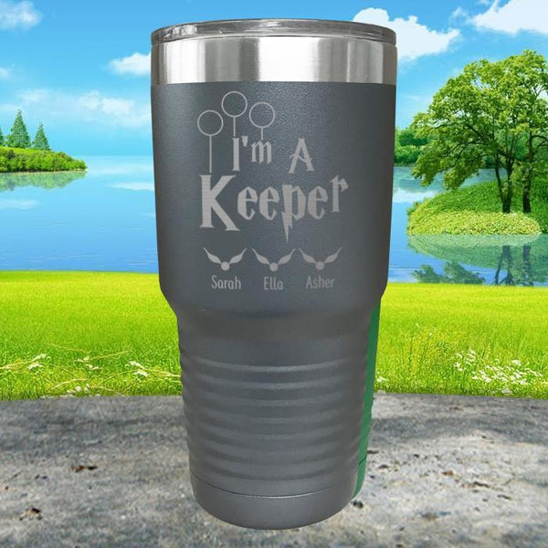 I'm A Keeper (CUSTOM) With Child's Name Engraved Tumblers Tumbler ZLAZER 30oz Tumbler Gray