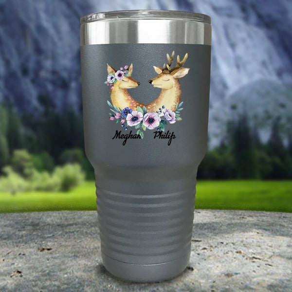 Buck and Doe Personalized Color Printed Tumblers Tumbler Nocturnal Coatings 30oz Tumbler Gray