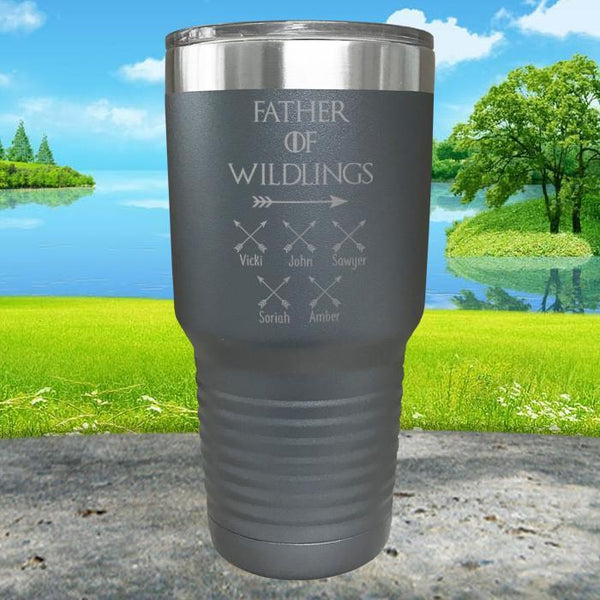 Father Of Wildlings (CUSTOM) With Child's Name Engraved Tumblers Tumbler ZLAZER 30oz Tumbler Gray