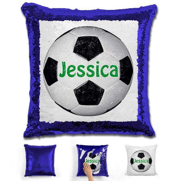 Soccer Personalized Magic Sequin Pillow Pillow GLAM Blue Green