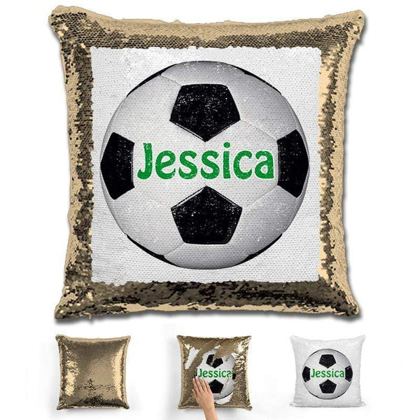 Soccer Personalized Magic Sequin Pillow Pillow GLAM Gold Green