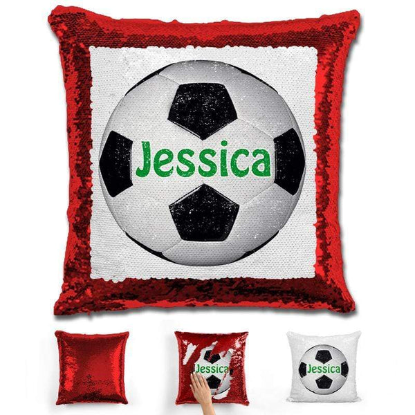 Soccer Personalized Magic Sequin Pillow Pillow GLAM Red Green