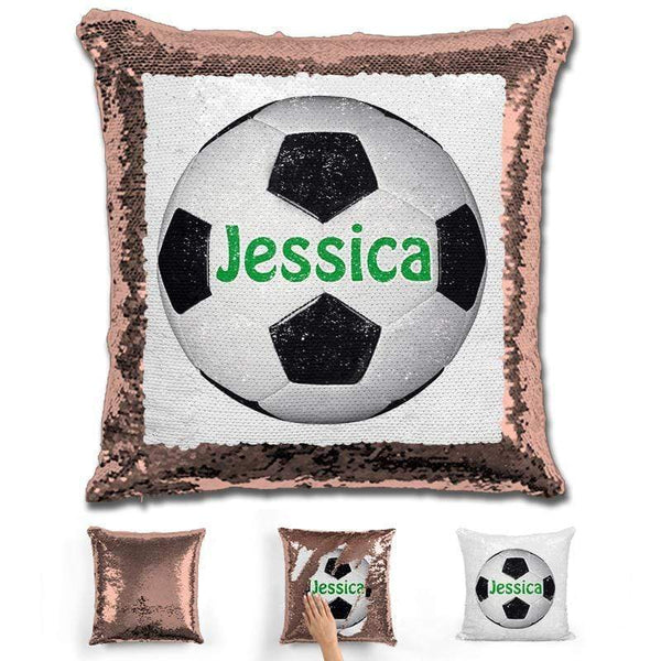 Soccer Personalized Magic Sequin Pillow Pillow GLAM Rose Gold Green