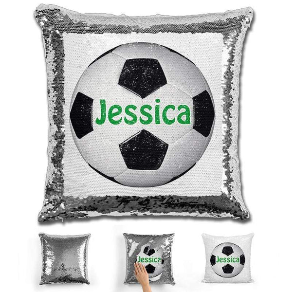 Soccer Personalized Magic Sequin Pillow Pillow GLAM Silver Green