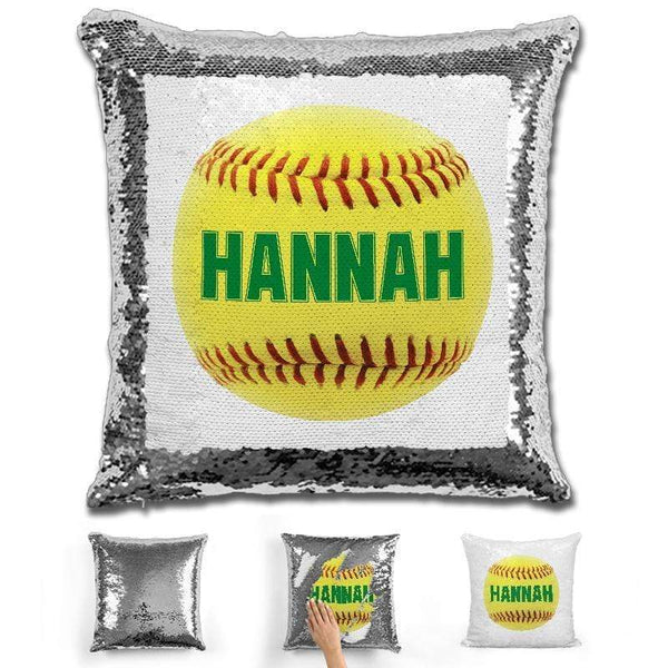 Softball Personalized Magic Sequin Pillow Pillow GLAM Silver Green
