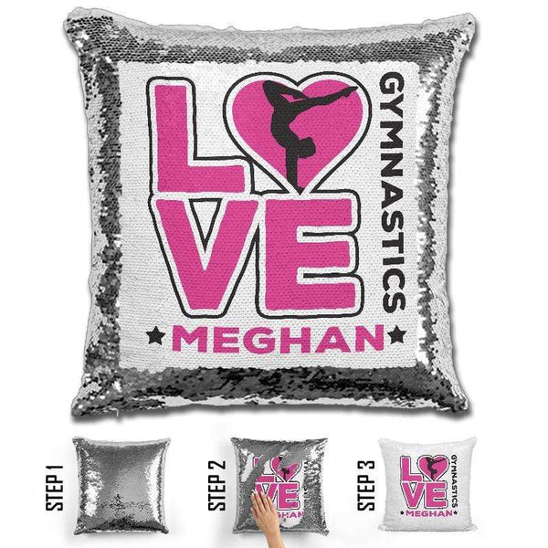 Personalized LOVE Gymnastics Magic Sequin Pillow Pillow GLAM Pink