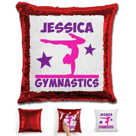 Gymnastics Personalized Magic Sequin Pillow Pillow GLAM Red