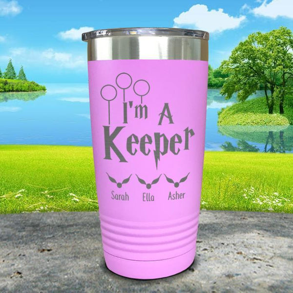 I'm A Keeper (CUSTOM) With Child's Name Engraved Tumblers Tumbler ZLAZER 20oz Tumbler Lavender