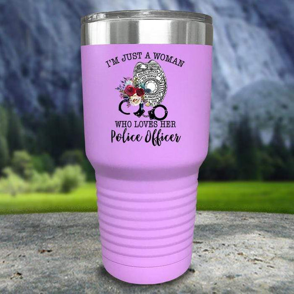 Just A Woman Who Loves Her Police Officer Color Printed Tumblers Tumbler Nocturnal Coatings