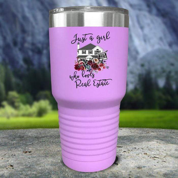 Just A Woman Who Loves Real Estate Color Printed Tumblers Tumbler Nocturnal Coatings 30oz Tumbler Lavender