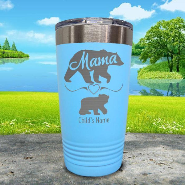 Mama Bear (CUSTOM) With Child's Name Engraved Tumblers Tumbler ZLAZER 20oz Tumbler Light Blue