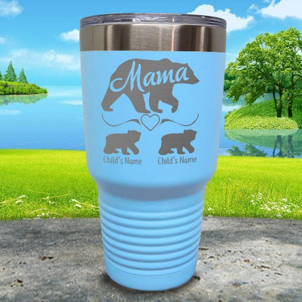 Mama Bear (CUSTOM) With Child's Name Engraved Tumblers Tumbler ZLAZER 30oz Tumbler Light Blue