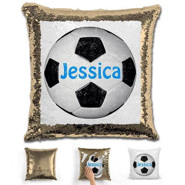 Soccer Personalized Magic Sequin Pillow Pillow GLAM Gold Light Blue