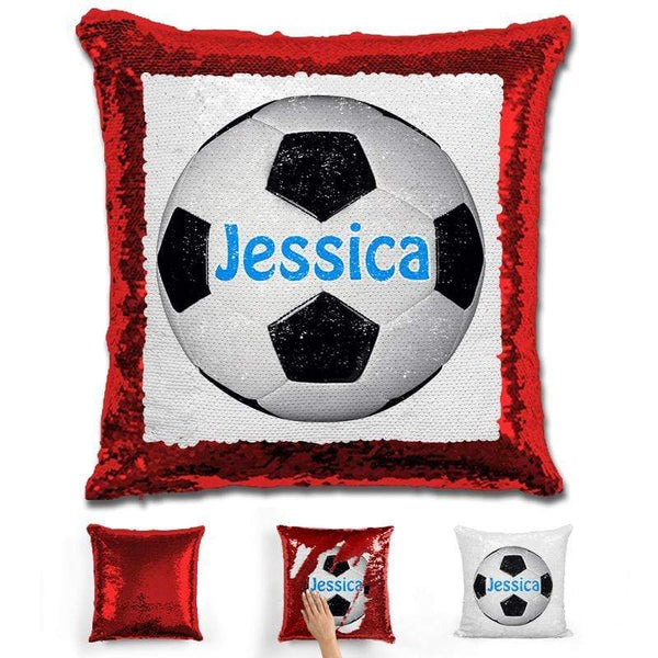 Soccer Personalized Magic Sequin Pillow Pillow GLAM Red Light Blue