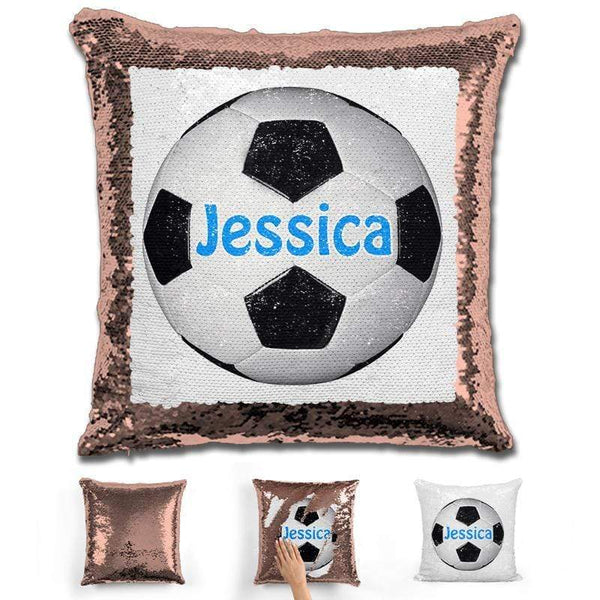 Soccer Personalized Magic Sequin Pillow Pillow GLAM Rose Gold Light Blue