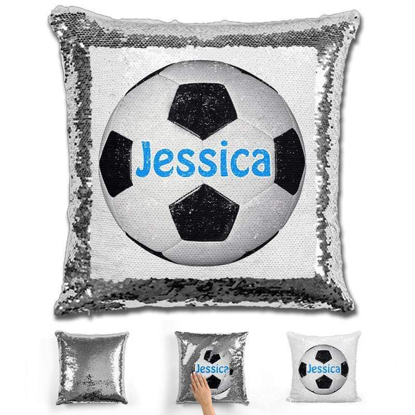 Soccer Personalized Magic Sequin Pillow Pillow GLAM Silver Light Blue