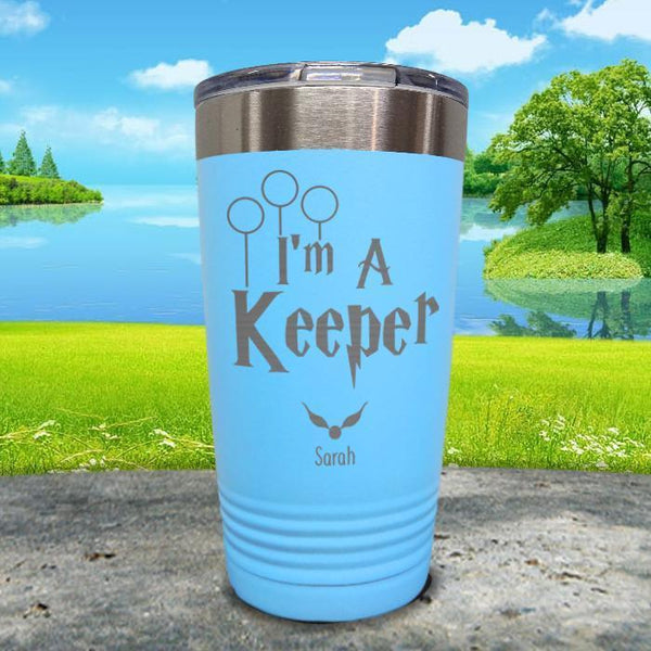 I'm A Keeper (CUSTOM) With Child's Name Engraved Tumblers Tumbler ZLAZER 20oz Tumbler Light Blue