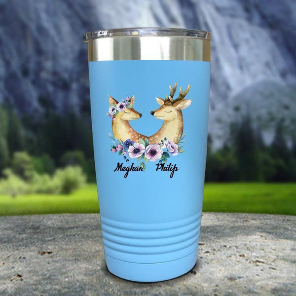 Buck and Doe Personalized Color Printed Tumblers Tumbler Nocturnal Coatings 20oz Tumbler Light Blue