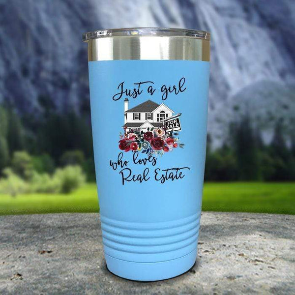 Just A Woman Who Loves Real Estate Color Printed Tumblers Tumbler Nocturnal Coatings 20oz Tumbler Light Blue