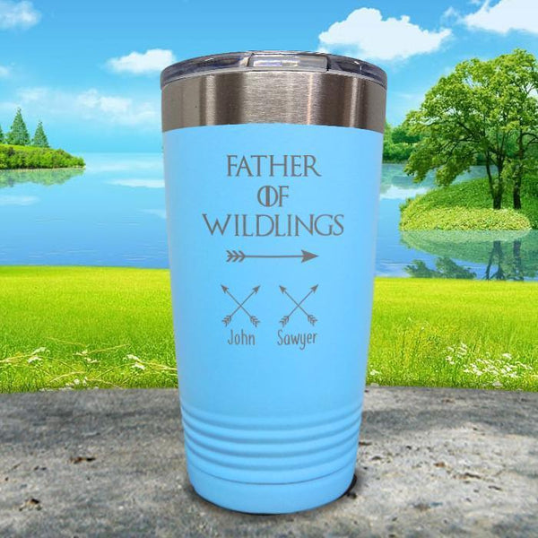 Father Of Wildlings (CUSTOM) With Child's Name Engraved Tumblers Tumbler ZLAZER 20oz Tumbler Light Blue