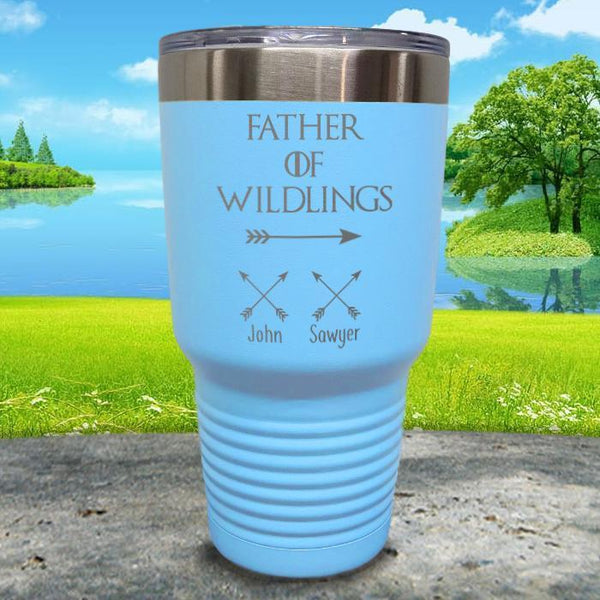 Father Of Wildlings (CUSTOM) With Child's Name Engraved Tumblers Tumbler ZLAZER 30oz Tumbler Light Blue