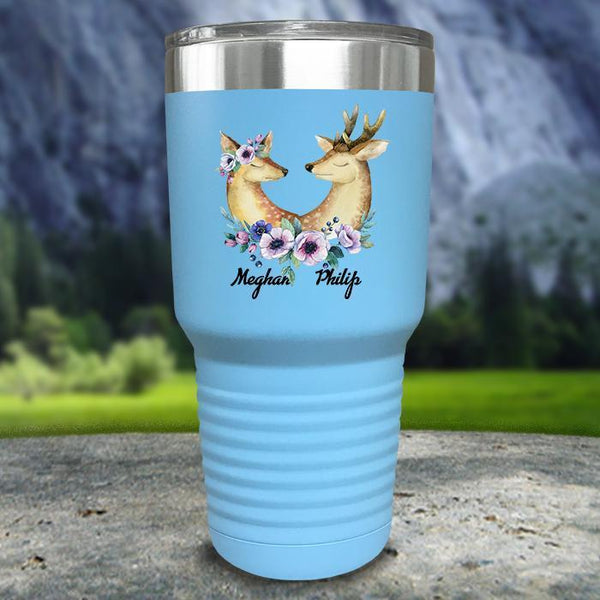 Buck and Doe Personalized Color Printed Tumblers Tumbler Nocturnal Coatings 30oz Tumbler Light Blue