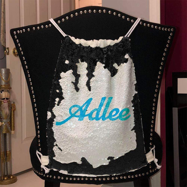 Personalized Magic Sequin Name Backpacks Sequin Backpack BLINGZ Black Light Blue