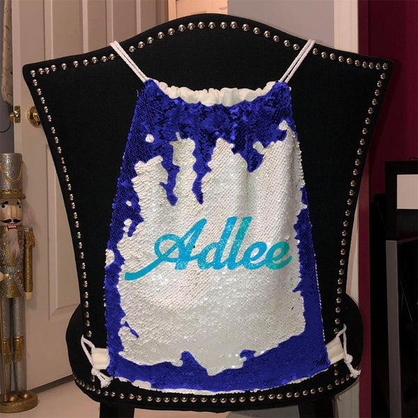 Personalized Magic Sequin Name Backpacks Sequin Backpack BLINGZ Blue Light Blue