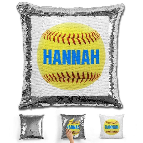 Softball Personalized Magic Sequin Pillow Pillow GLAM Silver Light Blue