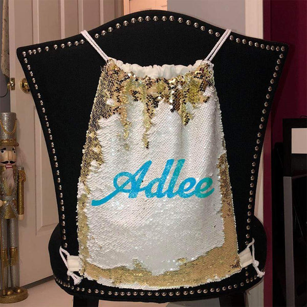 Personalized Magic Sequin Name Backpacks Sequin Backpack BLINGZ Gold Light Blue