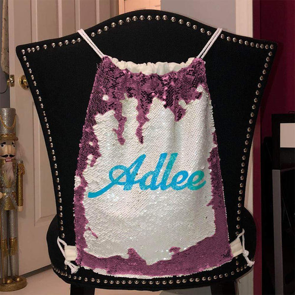 Personalized Magic Sequin Name Backpacks Sequin Backpack BLINGZ Pink Light Blue