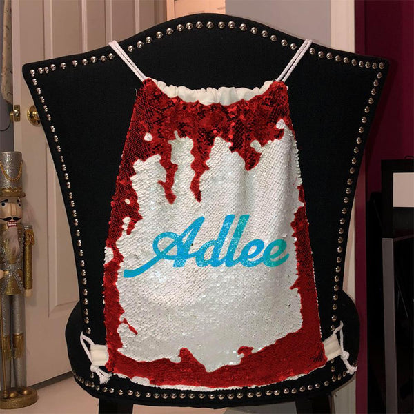 Personalized Magic Sequin Name Backpacks Sequin Backpack BLINGZ Red Light Blue