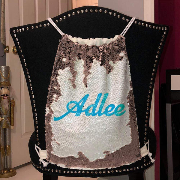 Personalized Magic Sequin Name Backpacks Sequin Backpack BLINGZ Rose Gold Light Blue