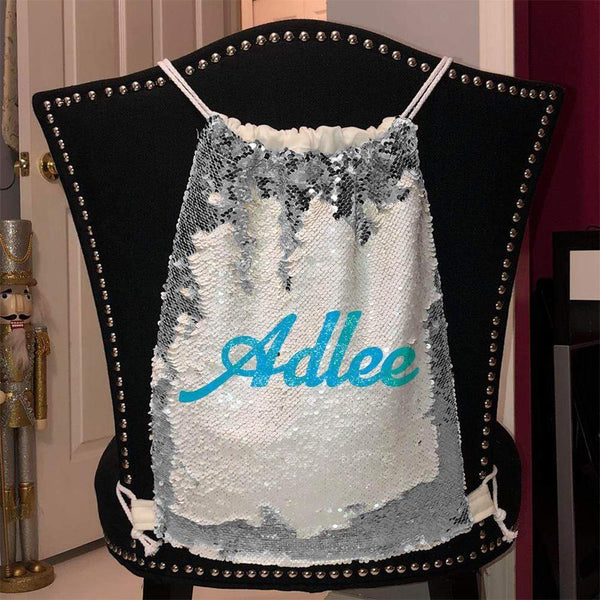 Personalized Magic Sequin Name Backpacks Sequin Backpack BLINGZ Silver Light Blue