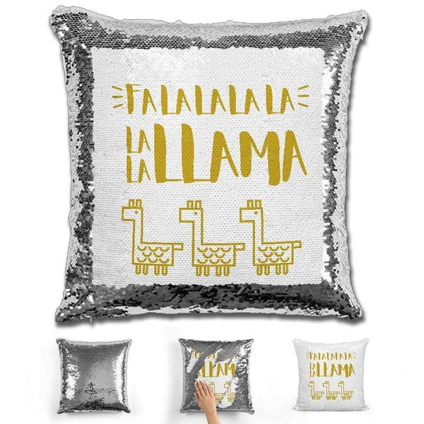 Holiday Season Llama Magic Sequin Pillow Pillow GLAM