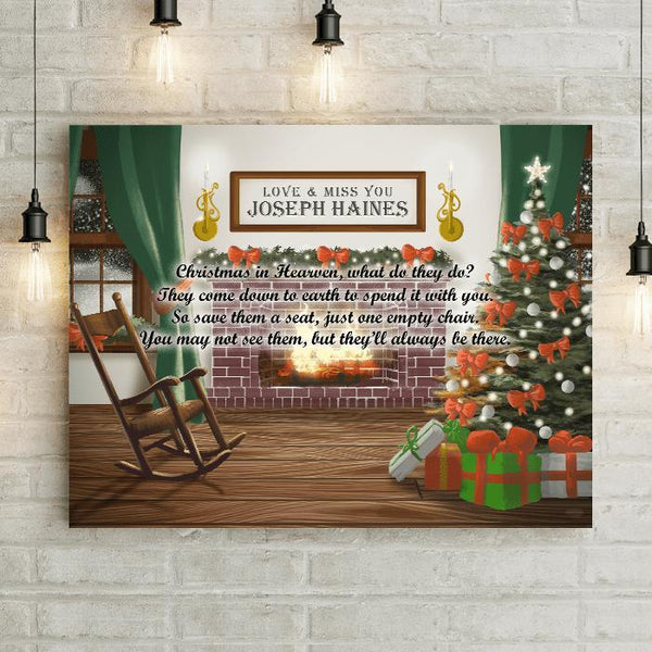 "Personalized Christmas In Heaven Remembering 24x16"" Canvas-LemonsAreBlue"