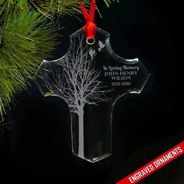 In Loving Memory Of PERSONALIZED Engraved Glass Ornament ZLAZER
