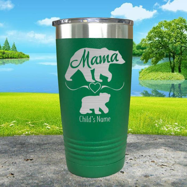 Mama Bear (CUSTOM) With Child's Name Engraved Tumblers Engraved Tumbler ZLAZER 20oz Tumbler Green