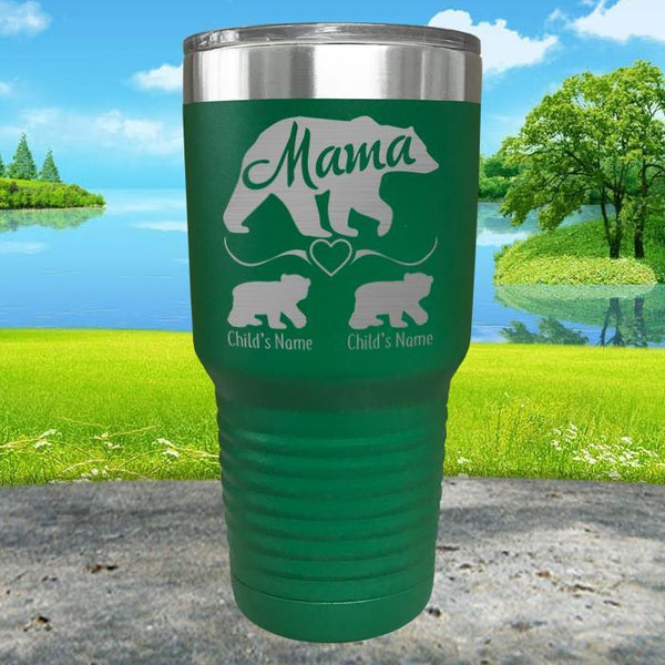 Mama Bear (CUSTOM) With Child's Name Engraved Tumblers Engraved Tumbler ZLAZER 30oz Tumbler Green