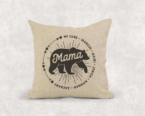 Mama Bear (CUSTOM) Burlap Pillow LemonsAreBlue