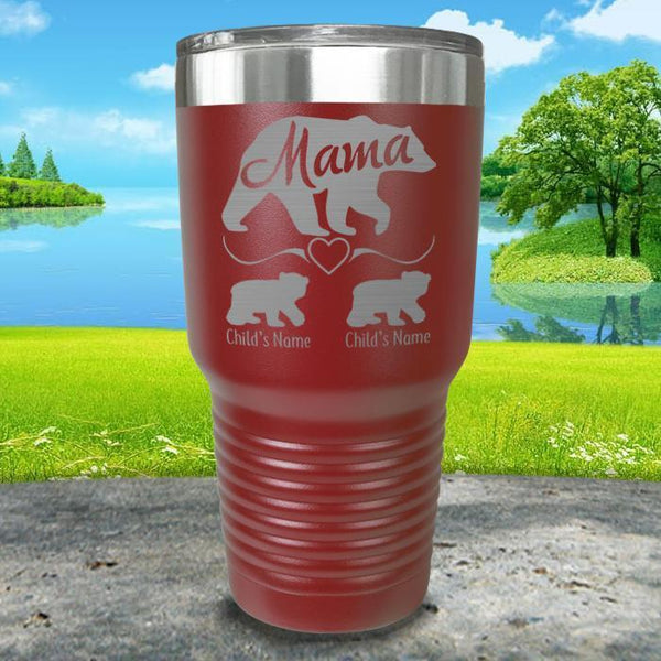 Mama Bear (CUSTOM) With Child's Name Engraved Tumblers Tumbler ZLAZER 30oz Tumbler Maroon