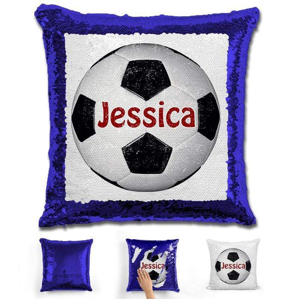 Soccer Personalized Magic Sequin Pillow Pillow GLAM Blue Maroon