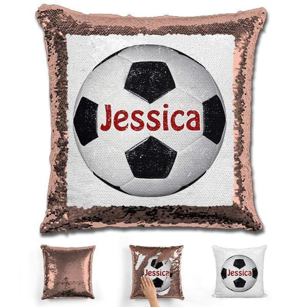 Soccer Personalized Magic Sequin Pillow Pillow GLAM Rose Gold Maroon