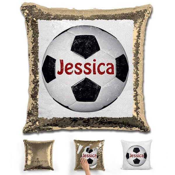 Soccer Personalized Magic Sequin Pillow Pillow GLAM Gold Maroon