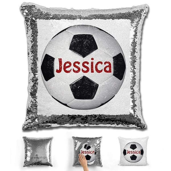 Soccer Personalized Magic Sequin Pillow Pillow GLAM Silver Maroon