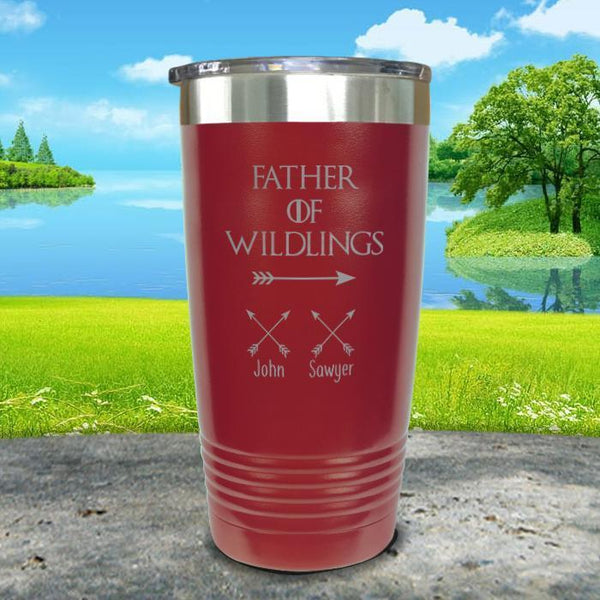 Father Of Wildlings (CUSTOM) With Child's Name Engraved Tumblers Tumbler ZLAZER 20oz Tumbler Maroon